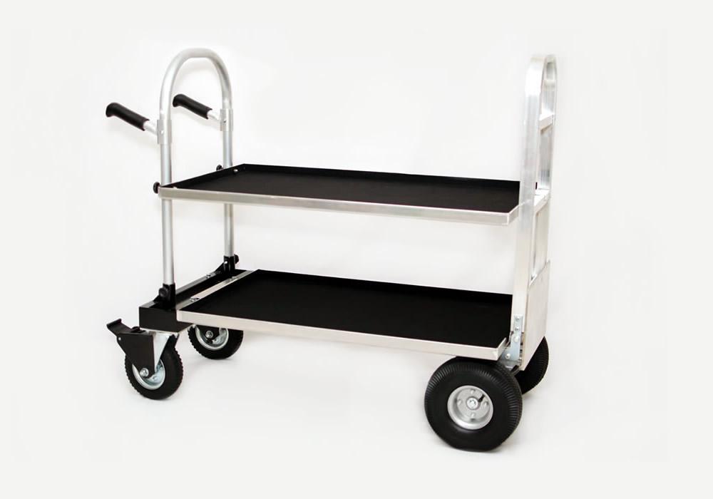 carrinho cinema 2×1 em alumínio com freios E 02 bandejas + Extensor F3